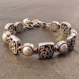 Brighton Swirl and Faux Mabe Pearl Link Bracelet